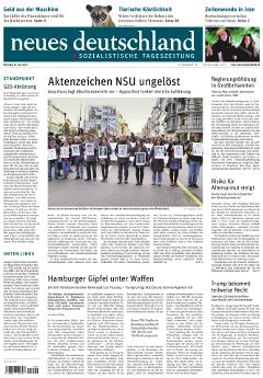 """Titelseite der aktuellen Ausgabe der Tageszeitung """"neues deutschland"""""""